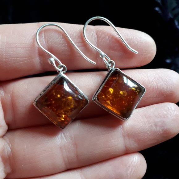 Square Amber Earrings